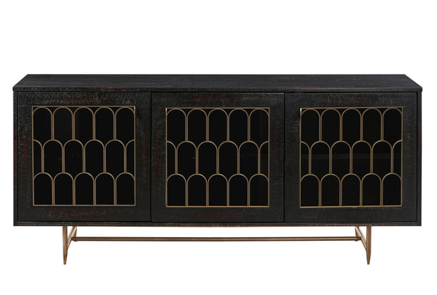 Gatsby Wood Buffet from the Gatsby Collection  made from Acacia, Steel, Tempered Glass in  featuring Handmade by skilled furniture craftsmen and Luxe Hollywood glam design