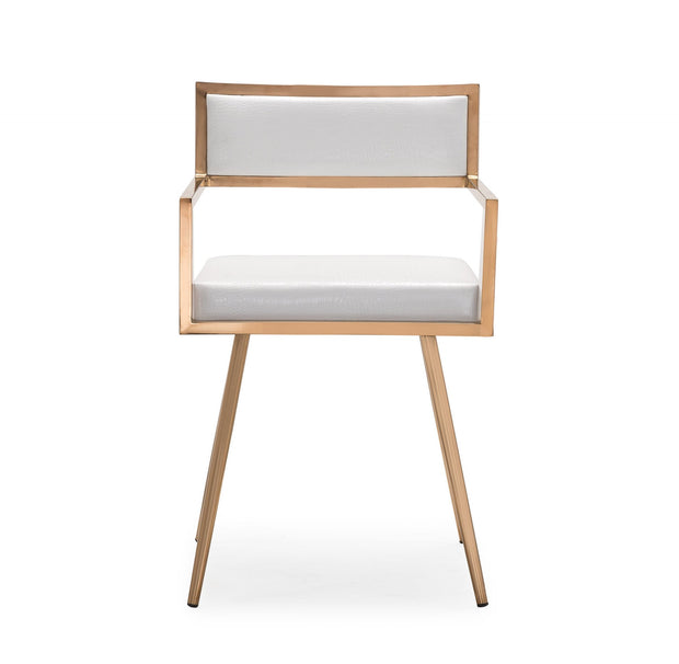 Marquee White Croc Arm Chair from the Marquee Collection  made from Stainless Steel, Vegan Leather in White, Rose Gold featuring Completely handmade and Croc Vegan Leather seat