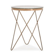 Marquee Table from the Marquee Collection  made from Tempered Glass, Stainless Steel in Rose Gold featuring Completely handmade and Stainless steel rose gold base