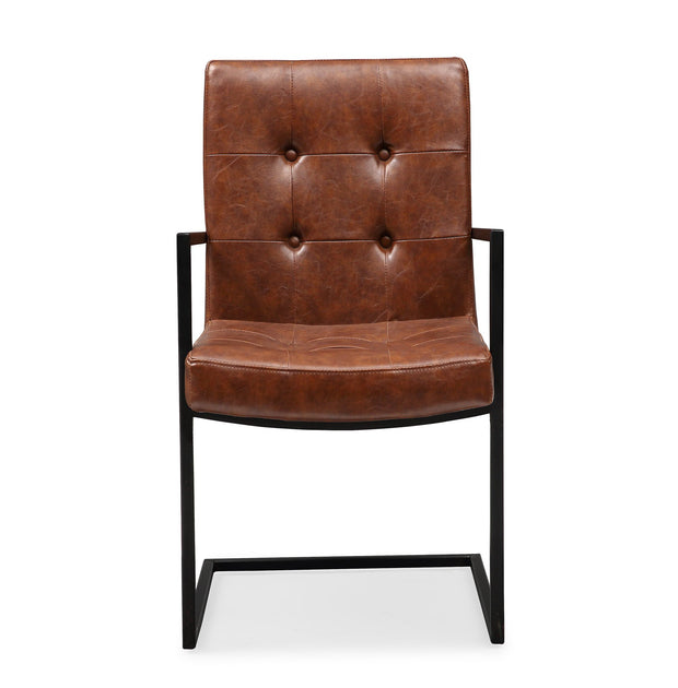Stanley Brown Arm Chair from the Stanley Collection  made from Steel, Vegan Leather in Brown, Black featuring Completely handmade and Wood frame with matte black steel base