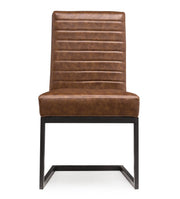 Austin Brown Chair from the Austin Collection  made from Steel, Vegan Leather, Wood in Brown, Black featuring Completely handmade and Comfortable ripple back