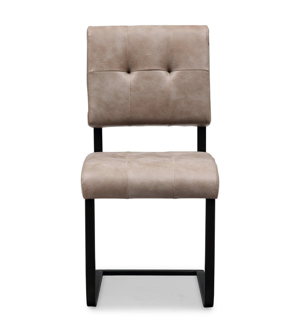 Cora Smokey Taupe Chair from the Cora Collection  made from Steel, Vegan Leather, Wood in Smokey Taupe, Black featuring Completely handmade and Wood frame with matte black steel base