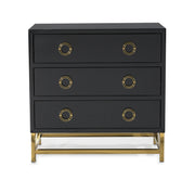 Majesty Chest from the Majesty Collection  made from MDF, Steel in Black, Gold featuring Handmade by skilled furniture craftsmen and High gloss black lacquer finish