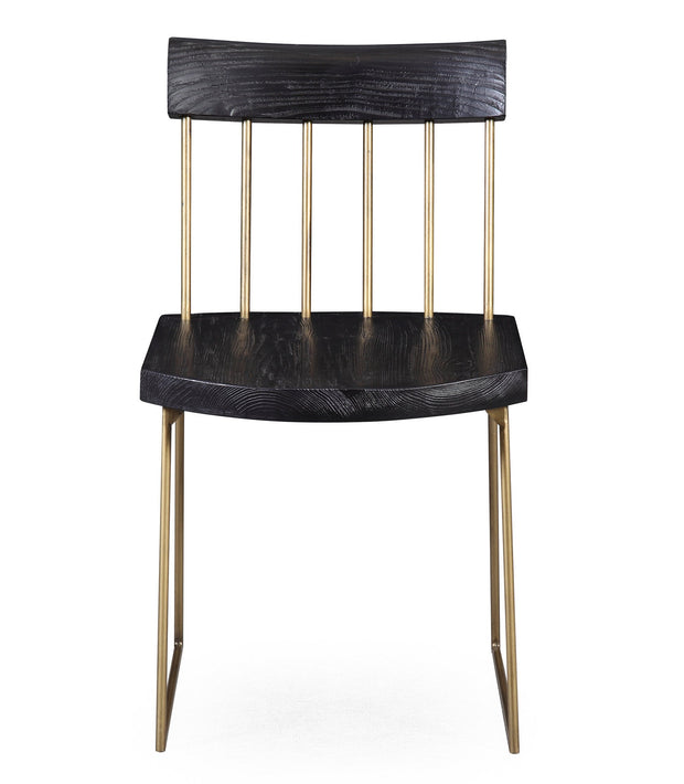Madrid Pine Chair from the Madrid Collection  made from Pine Wood, Steel in Matte black with brush brass featuring Handmade by skilled furniture craftsmen and Solid Pine wood frame with brushed brass steel