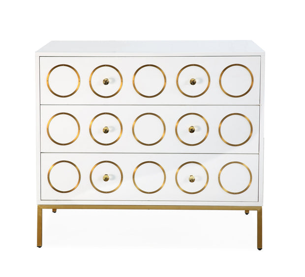 Ella Chest from the Ella Collection  made from MDF, Stainless Steel, Lucite in White, Gold featuring Handmade by skilled furniture craftsmen and High gloss white lacquer finish