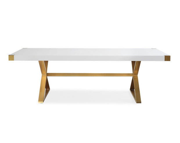 Adeline Dining Table made from MDF, Stainless Steel in White, Gold featuring Handmade by skilled furniture craftsmen and High gloss white lacquer finish