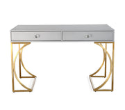 Lexie Desk made from MDF, Stainless Steel, Lucite in Grey, Gold featuring Handmade by skilled furniture craftsmen and Lucite drawer handles