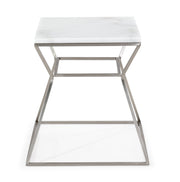 Zamora Marble Side Table made from Stainless Steel, Marble in Silver, White featuring Silver stainless steel base and Real marble top