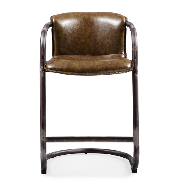 Colt Cognac Counter Stool from the Colt Collection  made from Steel, Vegan Leather in Silver, Cognac featuring Completely handmade and Rustic silver steel base