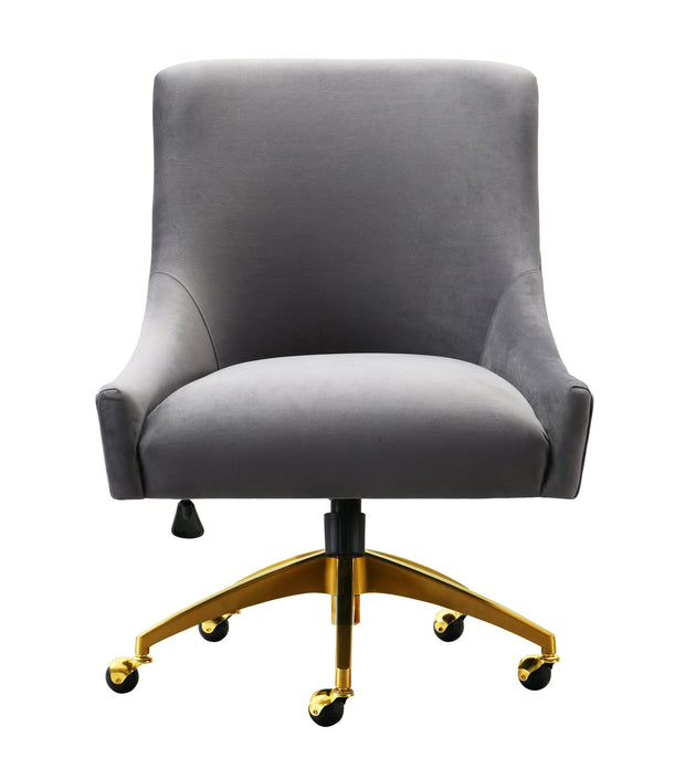 Beatrix Grey Office Swivel Chair from the Beatrix Collection  made from Velvet, Wood, Stainless Steel in Grey featuring Handmade elegantly curved design and Durable yet sumptuous velvet upholstery