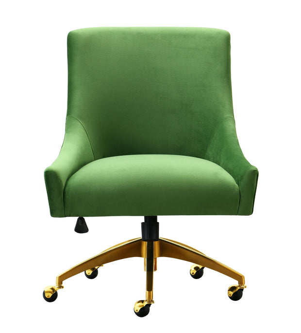 Beatrix Green Office Swivel Chair from the Beatrix Collection  made from Velvet, Wood, Stainless Steel in Green featuring Handmade elegantly curved design and Durable yet sumptuous velvet upholstery