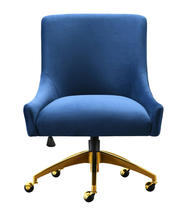 Beatrix Navy Office Swivel Chair from the Beatrix Collection  made from Velvet, Wood, Stainless Steel in Navy featuring Handmade elegantly curved design and Durable yet sumptuous velvet upholstery