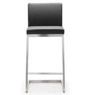 Parma Grey Steel Counter Stool  from the TOV MOD Collection  made from Stainless Steel, Vegan Leather in Grey featuring Stainless steel frame and footrest and Comfortable Vegan Leather upholstered back and seat