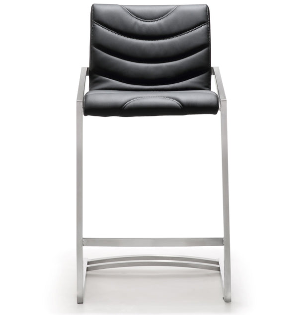 Rio Black Steel Counter Stool  from the TOV MOD Collection  made from Stainless Steel, Vegan Leather in Black featuring Stainless steel frame and footrest and Comfortable Vegan Leather upholstered back and seat