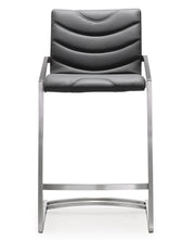 Rio Grey Steel Counter Stool  from the TOV MOD Collection  made from Stainless Steel, Vegan Leather in Grey featuring Stainless steel frame and footrest and Comfortable Vegan Leather upholstered back and seat