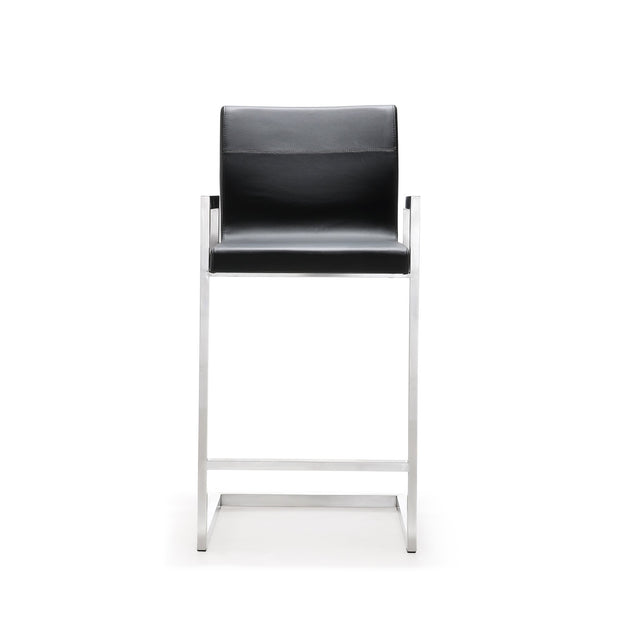 Milano Black Steel Counter Stool  from the TOV MOD Collection  made from Stainless Steel, Vegan Leather in Black featuring Stainless steel frame and footrest and Comfortable Vegan Leather upholstered back and seat