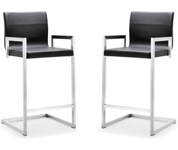 Milano Black Steel Counter Stool  (Set of 2)
