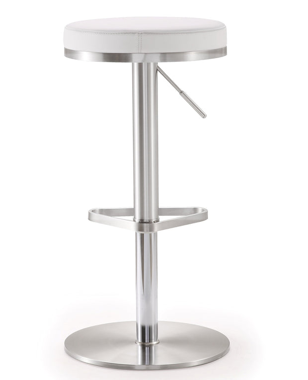 Fano White Steel Adjustable Barstool from the TOV MOD Collection  made from Stainless Steel, Vegan Leather in White featuring Stainless steel frame and footrest and Adjustable seat height with gas lift