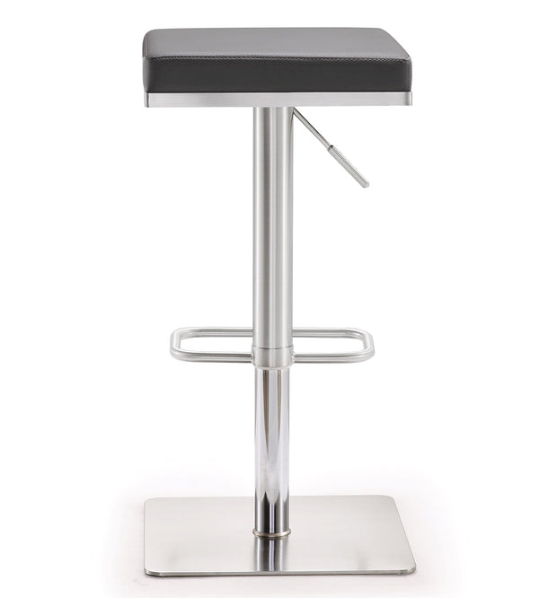 Bari Grey Steel Adjustable Barstool from the TOV MOD Collection  made from Stainless Steel, Vegan Leather in Grey featuring Stainless steel frame and footrest and Adjustable seat height with gas lift