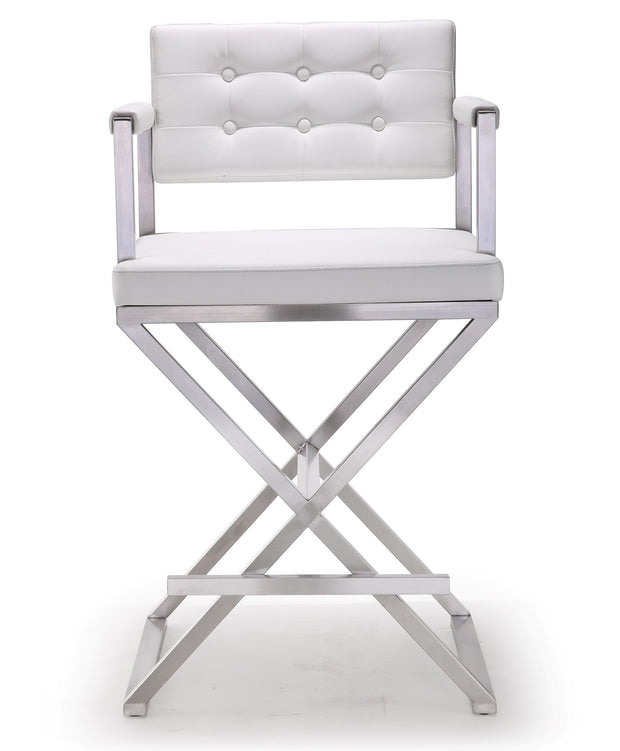 Director White Steel Counter Stool from the TOV MOD Collection  made from Stainless Steel, Vegan Leather in White featuring Stainless steel frame and footrest and Deep comfortable upholstered back and seat
