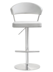 Cosmo White Steel Barstool from the TOV MOD Collection  made from Stainless Steel, Vegan Leather in White featuring Stainless steel frame and footrest and Adjustable seat height with gas lift