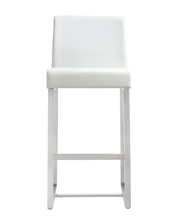 Denmark White Steel Counter Stool  from the TOV MOD Collection  made from Stainless Steel, Vegan Leather in White featuring Stainless steel frame and footrest and Comfortable Vegan Leather upholstered back and seat