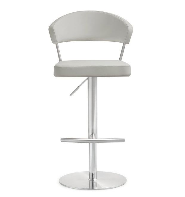 Cosmo Light Grey Steel Barstool from the TOV MOD Collection  made from Stainless Steel, Vegan Leather in Grey featuring Stainless steel frame and footrest and Adjustable seat height with gas lift