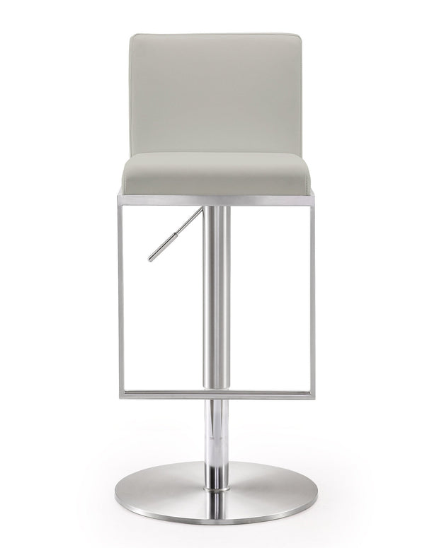 Amalfi Light Grey Steel Adjustable Barstool from the TOV MOD Collection  made from Stainless Steel, Vegan Leather in Grey featuring Stainless steel frame and footrest and Adjustable seat height with gas lift