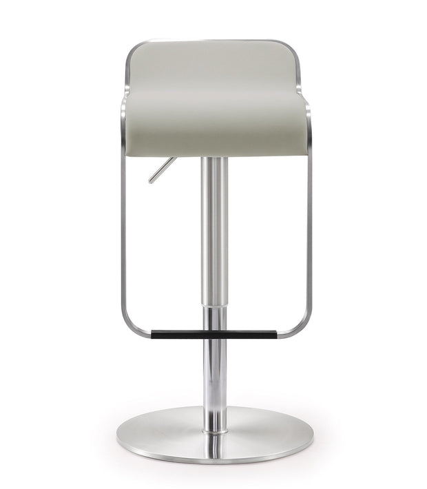 Napoli Light Grey Steel Adjustable Barstool from the TOV MOD Collection  made from Stainless Steel, Vegan Leather in White featuring Stainless steel frame and footrest and Adjustable seat height with gas lift