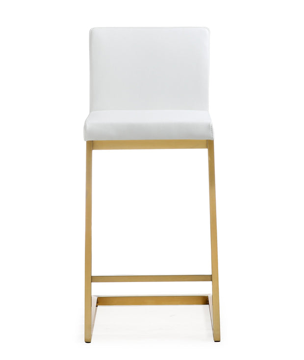 Parma White Gold Steel Counter Stool from the TOV MOD Collection  made from Stainless Steel, Vegan Leather in White featuring Stainless steel frame and footrest and Comfortable Vegan Leather upholstered back and seat