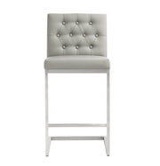Helsinki Light Grey Steel Counter Stool from the TOV MOD Collection  made from Stainless Steel, Vegan Leather in Light Grey featuring Stainless steel frame and footrest and Button tufted back