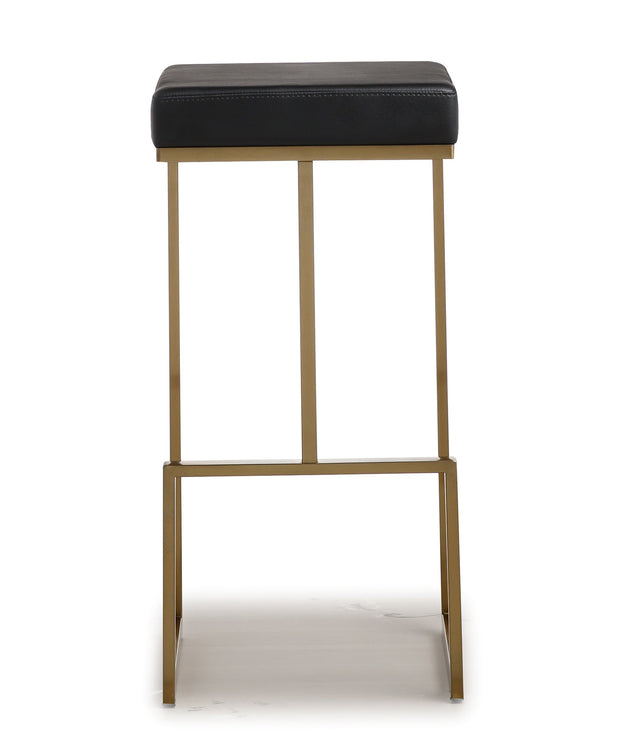 Ferrara Black Gold Steel Barstool from the TOV MOD Collection  made from Vegan Leather, Stainless Steel in Black featuring Stainless steel frame and footrest and Comfortable Vegan Leather upholstered seat
