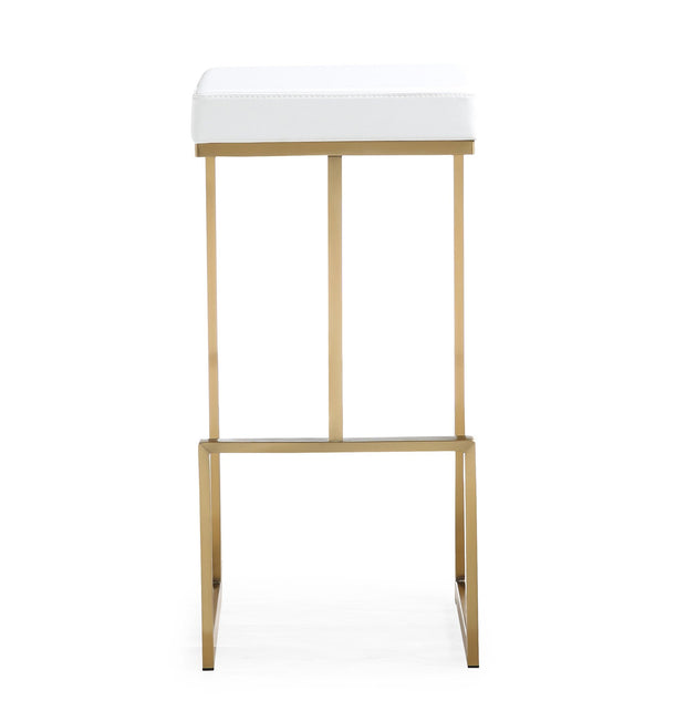 Ferrara White Gold Steel Barstool from the TOV MOD Collection  made from Vegan Leather, Stainless Steel in White featuring Stainless steel frame and footrest and Comfortable Vegan Leather upholstered seat