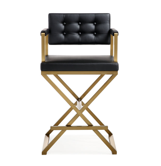 Director Black Gold Steel Counter Stool from the TOV MOD Collection  made from Stainless Steel, Vegan Leather in Black featuring Stainless steel frame and footrest and Deep comfortable upholstered back and seat