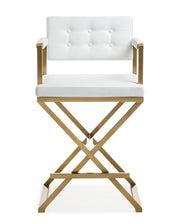 Director White Gold Steel Counter Stool from the TOV MOD Collection  made from Stainless Steel, Vegan Leather in White featuring Stainless steel frame and footrest and Deep comfortable upholstered back and seat