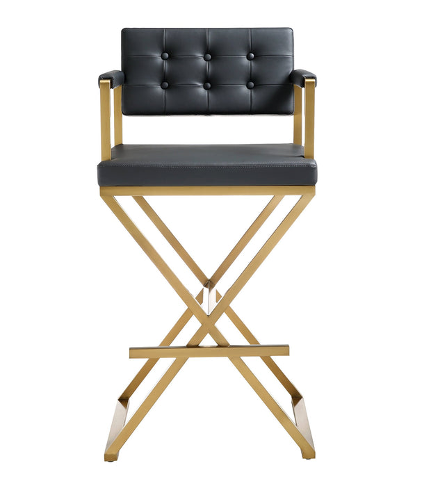 Director Black Gold Steel Barstool from the TOV MOD Collection  made from Stainless Steel, Vegan Leather in Black featuring Stainless steel frame and footrest and Deep comfortable upholstered back and seat