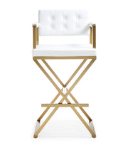 Director White Gold Steel Barstool from the TOV MOD Collection  made from Stainless Steel, Vegan Leather in White featuring Stainless steel frame and footrest and Deep comfortable upholstered back and seat