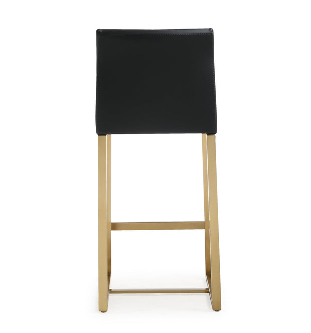 Denmark Black Gold Steel Counter Stool from the TOV MOD Collection  made from Stainless Steel, Vegan Leather in Black featuring Stainless steel frame and footrest and Comfortable Vegan Leather upholstered back and seat