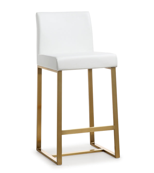 Denmark White Gold Steel Counter Stool (Set of 2)