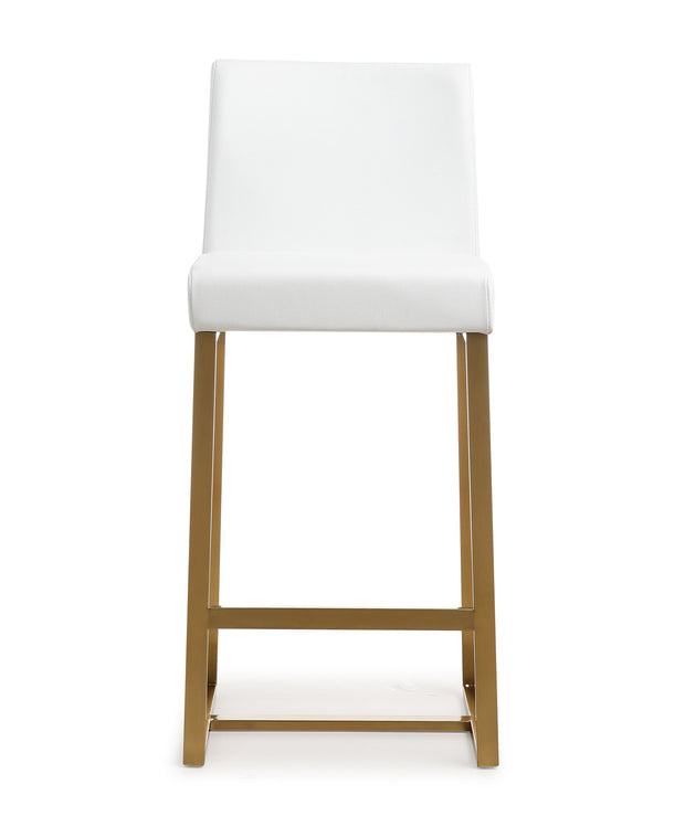 Denmark White Gold Steel Counter Stool from the TOV MOD Collection  made from Stainless Steel,Vegan Leather in White featuring Stainless steel frame and footrest and Comfortable Vegan Leather upholstered back and seat