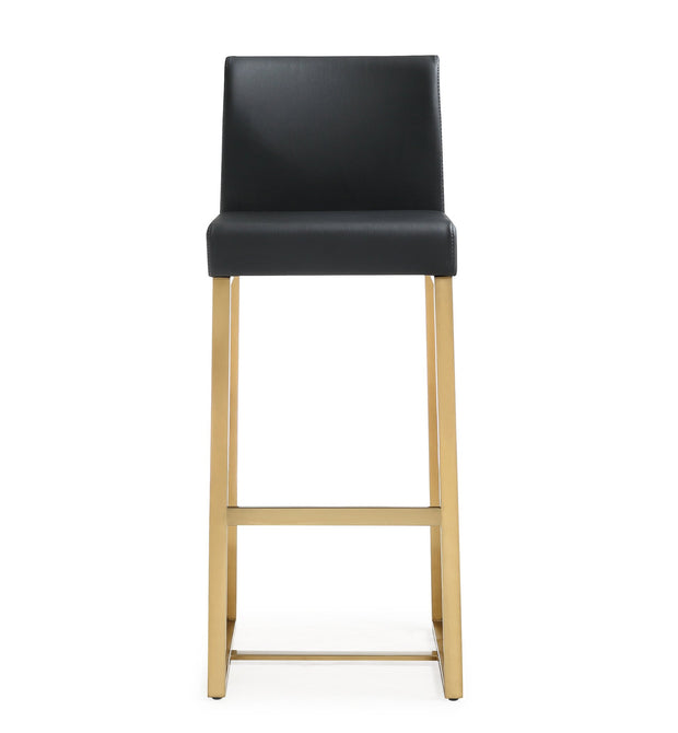 Denmark Black Gold Steel Barstool from the TOV MOD Collection  made from Stainless Steel, Vegan Leather in Black featuring Stainless steel frame and footrest and Comfortable Vegan Leather upholstered back and seat