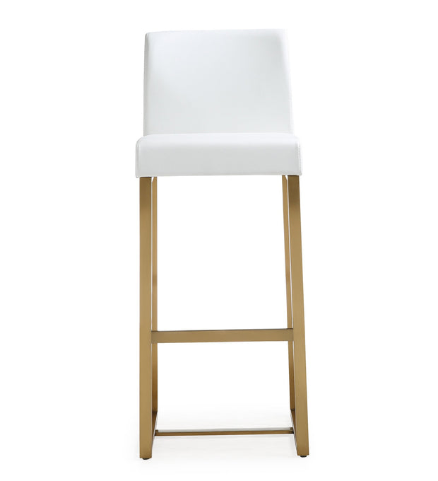 Denmark White Gold Steel Barstool from the TOV MOD Collection  made from Stainless Steel, Vegan Leather in White featuring Stainless steel frame and footrest and Comfortable Vegan Leather upholstered back and seat