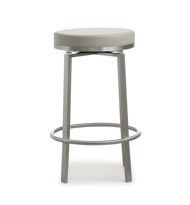 Pratt Grey Steel Counter Stool - Set of 2 from the Pratt Collection  made from Stainless Steel, PU in Grey, Silver featuring 360 Swivel seat and Stainless steel frame and footrest