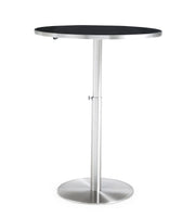 Ridge Adjustable Bar Table from the TOV MOD Collection  made from Stainless Steel, Tempered glass in Silver, Black featuring  and