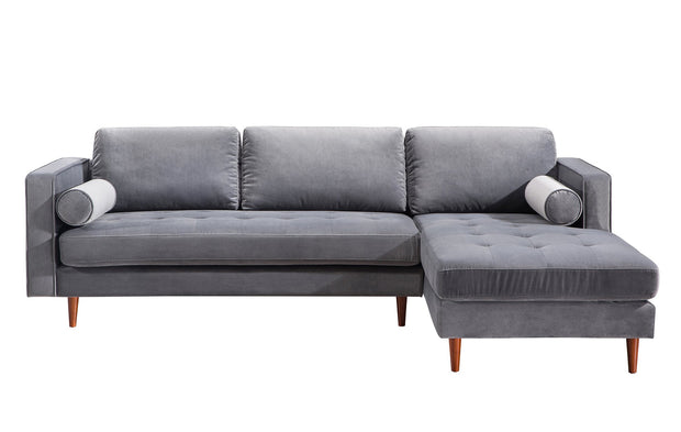 Como Grey Velvet Sectional RAF from the Como Collection  made from Velvet, Wood in Grey featuring Handmade by skilled furniture craftsmen and Button tufted seat
