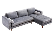 Como Grey Velvet Sectional RAF