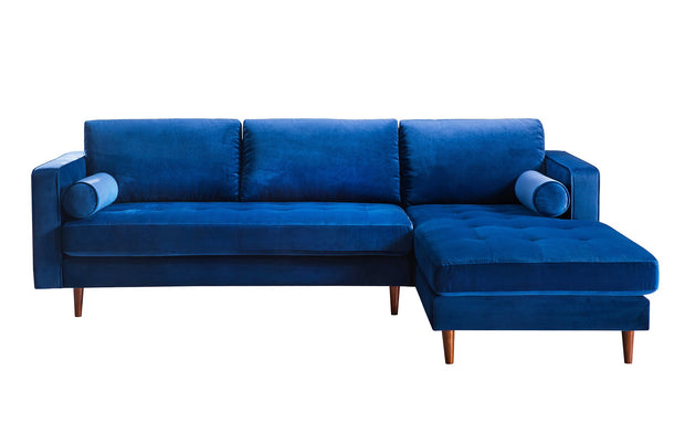 Como Navy Velvet Sectional RAF from the Como Collection  made from Velvet, Wood in Navy featuring Handmade by skilled furniture craftsmen and Button tufted seat