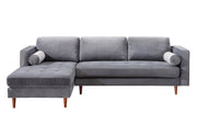Como Grey Velvet Sectional LAF from the Como Collection  made from Velvet, Wood in Grey featuring Handmade by skilled furniture craftsmen and Button tufted seat
