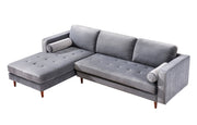 Como Grey Velvet Sectional LAF