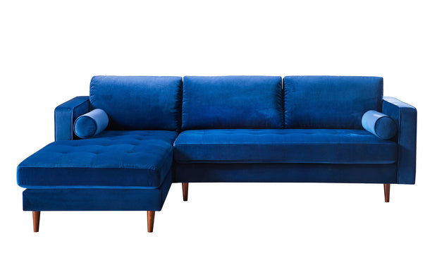 Como Navy Velvet Sectional LAF from the Como Collection  made from Velvet, Wood in Navy featuring Handmade by skilled furniture craftsmen and Button tufted seat